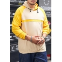 Mens New Fashion Colorblock Patched Loose Fit Long Sleeve Casual Pullover Sports Hoodie