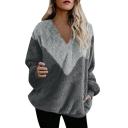 New Fashion Color Block V Neck Round Neck Long Sleeve Fluffy Teddy Casual Sweatshirt