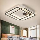 Square Flush Ceiling Light Minimalist Metal Black Led Flush Lighting for Bedroom