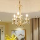 French Style Chandelier Lighting with Candle Metal and Clear Crystal 3/6 Lights Hanging Ceiling Light in Gold