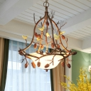 Frosted Glass Bowl Chandelier with Bird and Pinecone 3 Lights Village Style Pendant Light