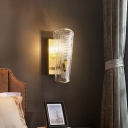 Bedroom Rectangle Backplate Wall Sconce Clear Crystal 1/2 Lights Luxurious Gold Sconce Light
