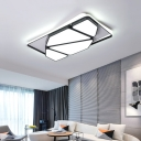 Black Geometric Flush Mount Lighting Modern Metal Led Ceiling Flush Light with Acrylic Shade