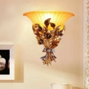 1 Light Flare Shade Wall Lamp with Resin Bouquet Base Country Style Decorative Living Room Lighting