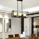 Clear Glass Cylinder Pendant Light with Inner Marble Glass Shade Vintage 3/5/6 Lights Kitchen Island Lighting in Black