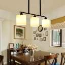 Opal Glass Cylinder Island Lighting Loft Simple 3 Heads Black Chandelier Light for Dining Room