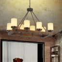 6/8 Lights Linear Chandelier Light with Frosted Glass Shade Loft Style Kitchen Island Lighting