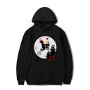 Cartoon Joker Balloon Printed Long Sleeve Loose Relaxed Hoodie with Pocket