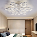 Office Restaurant Ceiling Lamp Acrylic Modern Stylish Warm/White Lighting LED Flush Mount Light in White