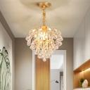 3 Lights Crystal Pendant Lighting Contemporary Metal Gold Ceiling Hanging Light Foyer
