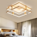 2-Tier Square Ceiling Mounted Light Modern Metal 2 Heads Gold Flushmount Light in Warm/White for Bedroom, 18