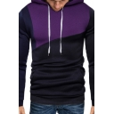 Men's New Stylish Colorblock Patch Print Long Sleeve Casual Drawstring Pullover Hoodie