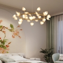 Brass Ring Chandelier Lighting with Heart Ribbed Glass Shade Multi Light Led Bedroom Suspension Light