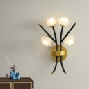 4 Lights Lotus Sconce Lighting Vintage Frosted Glass Shade Wall Lamp in Warm Brass