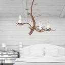 Industrial Branch Hanging Lamp 4 Lights Metal Ceiling Chandelier Light in Bronze for Bedroom