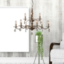 French Country Candle Chandelier with Crystal Drop 9/12/15 Lights Metal Pendant Light for Dining Table