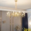 Gold Candle Hanging Pendant Lamp 6/8/10 Bulbs Traditional Suspension Light with Crystal Ball