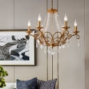 6 Lights Clear Crystal Pendant Lamp with Candle Vintage Country Style Chandelier Lighting in Gold