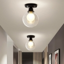 Orb Glass Flush Fixture Contemporary 1 Head Flush Mount Ceiling Light Fixture in Clear for Bedroom