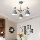 3/6/8-Bulb Cone Chandelier Light Contemporary Metal Chandelier Light Fixture in Blue/Green/Grey/White