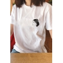Simple Cartoon Girl's Head Pattern Short Sleeve White Loose T-Shirt Top