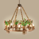 Rustic Round Chandelier Metal 8 Lights Brass Hanging Pendant for Restaurant