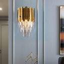 K9 Crystal Wall Lighting with Sheetmetal Contemporary 1 Light Sconce Light Fixture in Brass for Bedroom