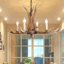 4/6/8/10/15 Heads Antlers Ceiling Pendant Light Country Resin 4 Bulbs Chandelier Lamp with Adjustable Chain in Brown