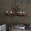 6/10/15 Lights Candle Pendant Light Fixture with Antlers Accent Rustic Resin Chandelier Lighting in Black