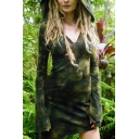 Ladies Sexy V-Neck Tie Dye Long Sleeve Hooded Fitted Mini Dress