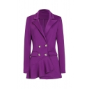 Women Exclusive Sharp Shoulder Ruffled Peplum Plain Blazer with Flap Pocket