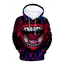 Cool Mouth Pattern Long Sleeve Drawstring Hood Casual Hoodie