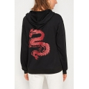 Dragon Printed Back Drawstring Hood Long Sleeve Black Boxy Pullover Hoodie