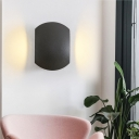 Outdoor Round Wall Light Sconce Aluminum Contemporary Black Sconce Light Fixture in Warm/White