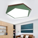 16.5/20.5 Inch Wide Faceted Ceiling Lighting with Wood Canopy Macaron LED Ceiling Flush Mount in Green