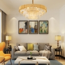 Brass Tube Chandelier Contemporary Crystal and Metal Round Chandelier Light for Bedroom