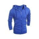 Blue Long Sleeve Zip Up Basic Drawstring Hoodie with Pocket