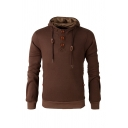 Winter Fashion Elbow Patch Long Sleeve Button Decoration Thick Henley Hoodie