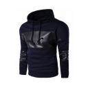 Casual Mens Snakeskin Leather Panel Long Sleeve Kangaroo Pocket Drawstring Pullover Hoodie