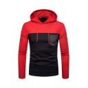 Classic Colorblocked Chest Pocket Long Sleeve Slim Fit Pullover Hoodie
