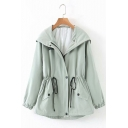 Casual Flap Pocket Elastic Cuffs Back Split Drawstring Waist Windbreaker Hooded Coat