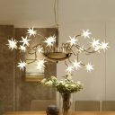 Modern Decorative Star Hanging Pendant Light Frosted Glass Ceiling Chandelier Light