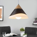 Nordic Style Conical Pendant Lamp 1 Light Metal Suspension Light in Black/Gray/White