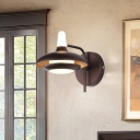 Brown Dome Wall Sconce Light Modern Metal and Acrylic Led Indoor Lighting in Warm/White