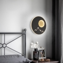 Round/Square Wall Mount Light with Mountain View Modern Decorative Black/White Led Wall Lighting