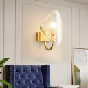 1 Light Curved Shade Wall Sconce Modernism Clear Textured Glass Wall Mounted Light in Brass