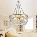 Clear Crystal Ceiling Pendant Light 4 Light French Country Style Chandelier Lamp in Gold