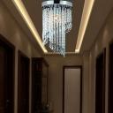 Hallway Restaurant Circular Flush Mount Light Clear Crystal 1 Light Modern Ceiling Light in Chrome