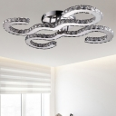 Contemporary Curved Ceiling Light Metal Warm/White/3 Color Lighting Sconce Light in Chrome for Hotel