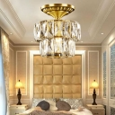 Elegant Style Gold Ceiling Mount Light Drum Shade 1 Light Clear Crystal Ceiling Lamp for Corridor